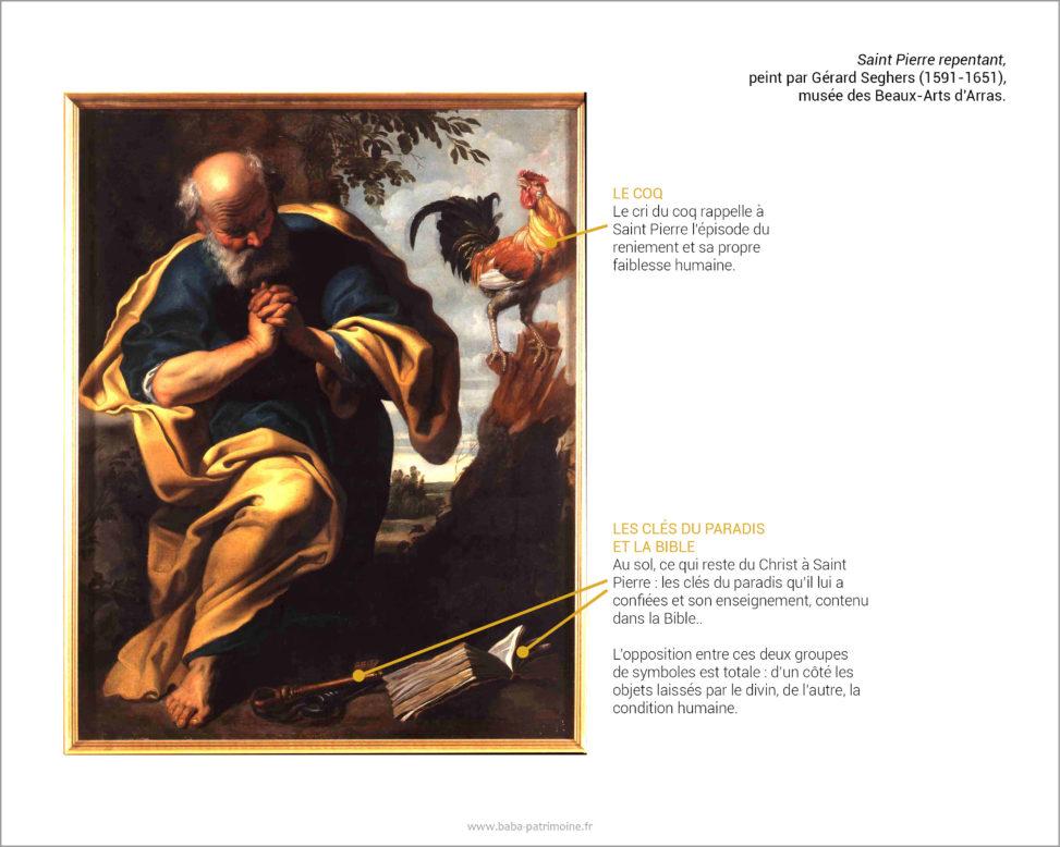 Saint Pierre repentant, peint par Gérard Seghers (1591-1651), musée des beaux-arts d'Arras.
