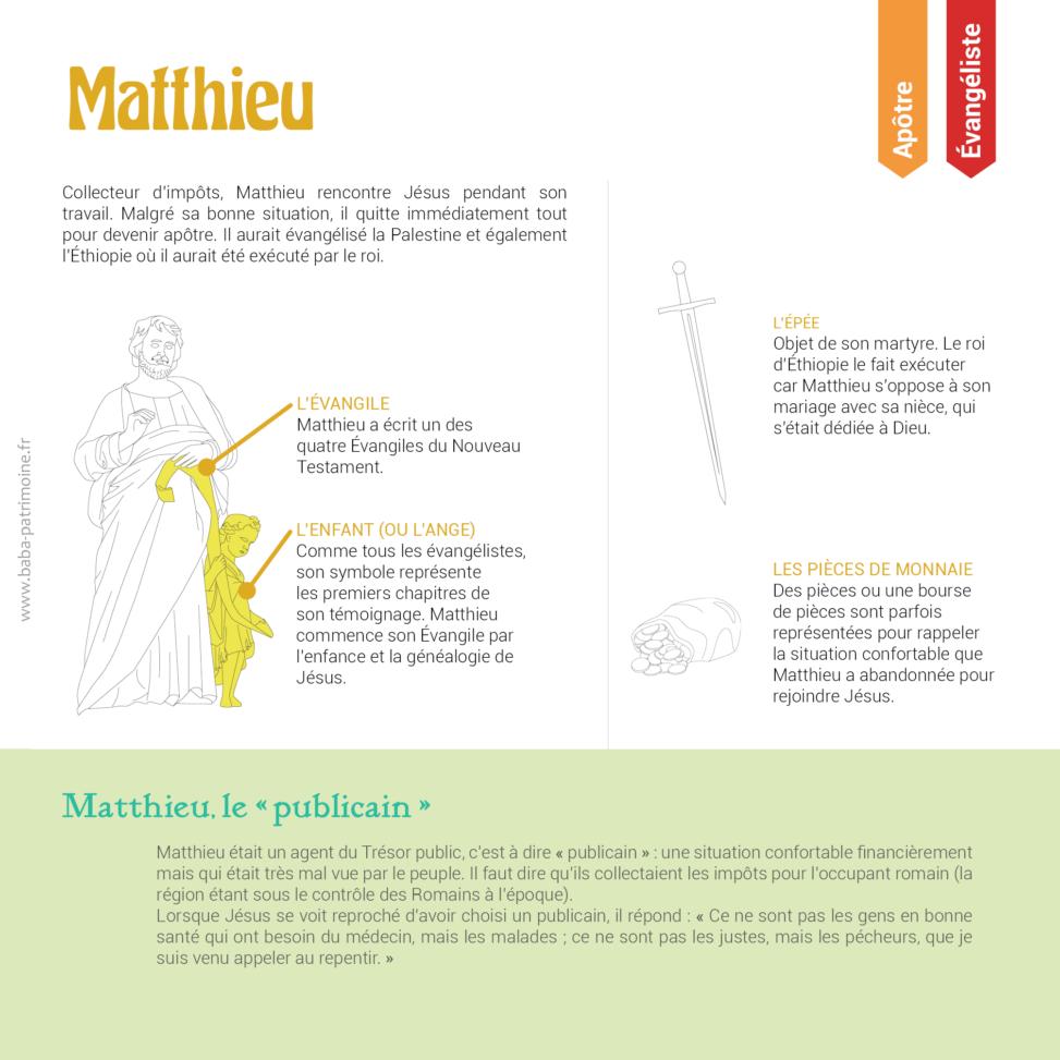 Saint Matthieu l'évangéliste et l'apôtre, sa vie, ses symboles : l'enfant (ou l'ange), lépée, la bourse. Collecteur d'impôts, Matthieu rencontre Jésus pendant son travail. Malgré sa bonne situation, il quitte immédiatement tout pour devenir apôtre. Il aurait évangélisé la Palestine et également l'Éthiopie où il aurait été exécuté par le roi. Matthieu, le « publicain » : Matthieu était un agent du Trésor public, c'est à dire « publicain » : une situation confortable financièrement mais qui était très mal vue par le peuple. Il faut dire qu'ils collectaient les impôts pour l'occupant romain (la région étant sous le contrôle des Romains à l'époque). Lorsque Jésus se voit reproché d'avoir choisi un publicain, il répond : « Ce ne sont pas les gens en bonne santé qui ont besoin du médecin, mais les malades ; ce ne sont pas les justes, mais les pécheurs, que je suis venu appeler au repentir. »