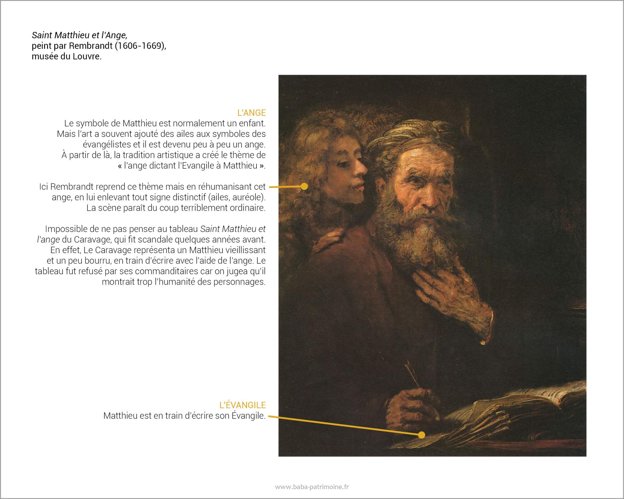 Saint Matthieu et l'Ange, peint par Rembrandt (1606-1669). Musée du Louvre.