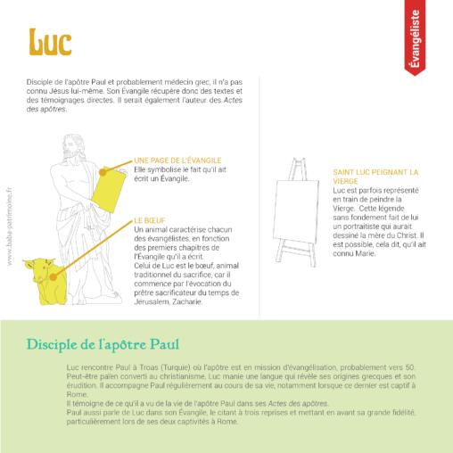 Les symboles de Saint Luc, évangéliste : le boeuf ailé, saint Luc peignant la Vierge.