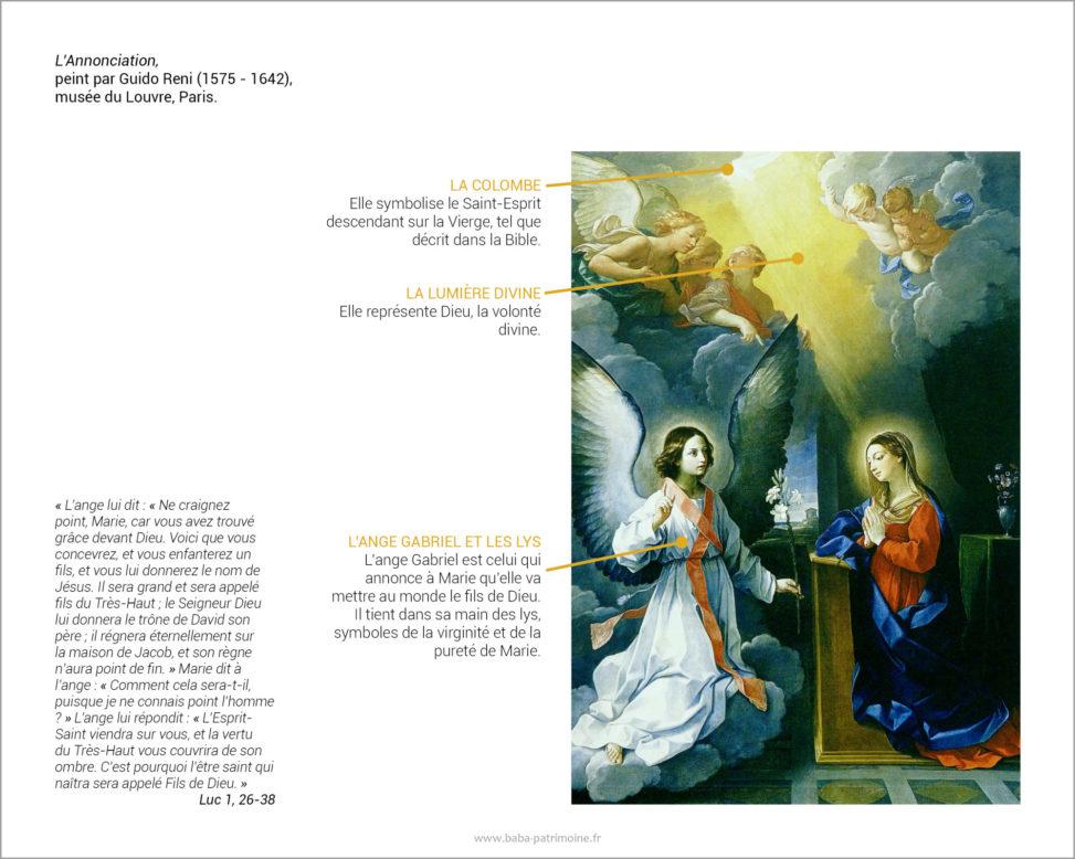 L'Annonciation, peint par Guido Reni (1575-1642), musée du Louvre, Paris. Symboles de la colombe, la lumière divine, le lys et l'ange Gabriel.