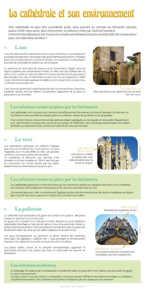 La cathédrale et son environnement : eau de pluie, vent, pollution atmosphérique.