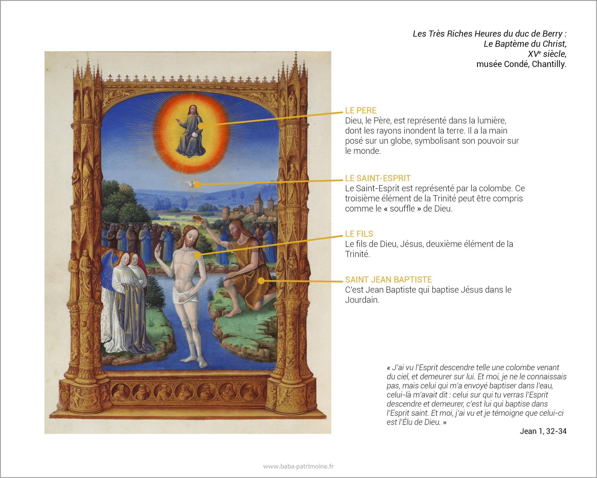 Analyse de l'enluminure des Très Riches Heures du duc de Berry : Le Baptème du Christ, XVe, musée Condé, Chantilly.