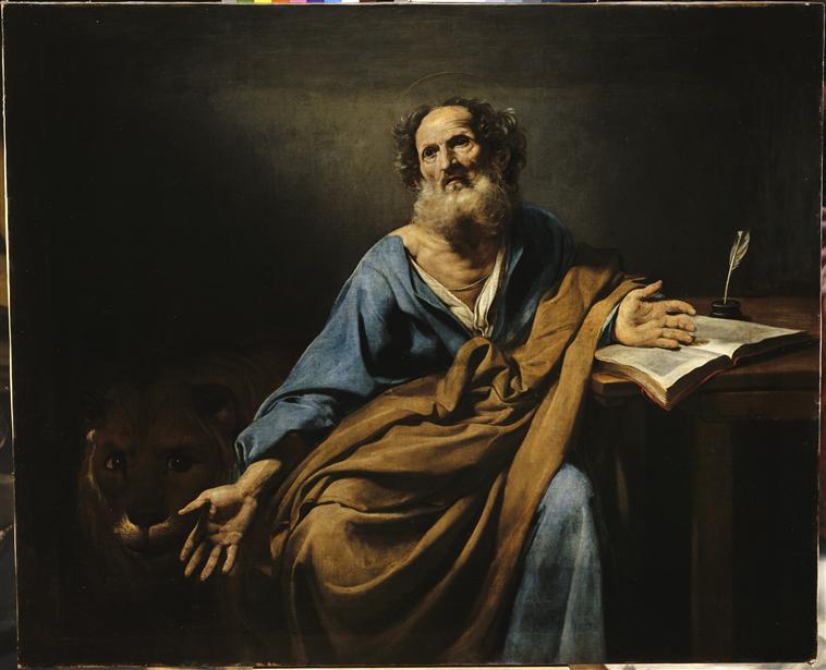 Saint Marc, l'évangéliste, par Boulogne Valentin (1591-1632) châteaux de Versailles. (C) RMN-Grand Palais (Château de Versailles) / Daniel Arnaudet / Jean Schormans