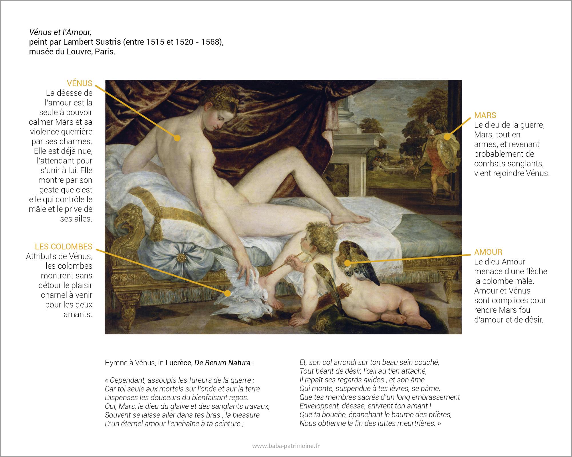 Analyse du tableau Vénus et l'Amour, peint par Lambert Sustris (entre 1515 et 1520 - 1568), musée du Louvre, Paris.