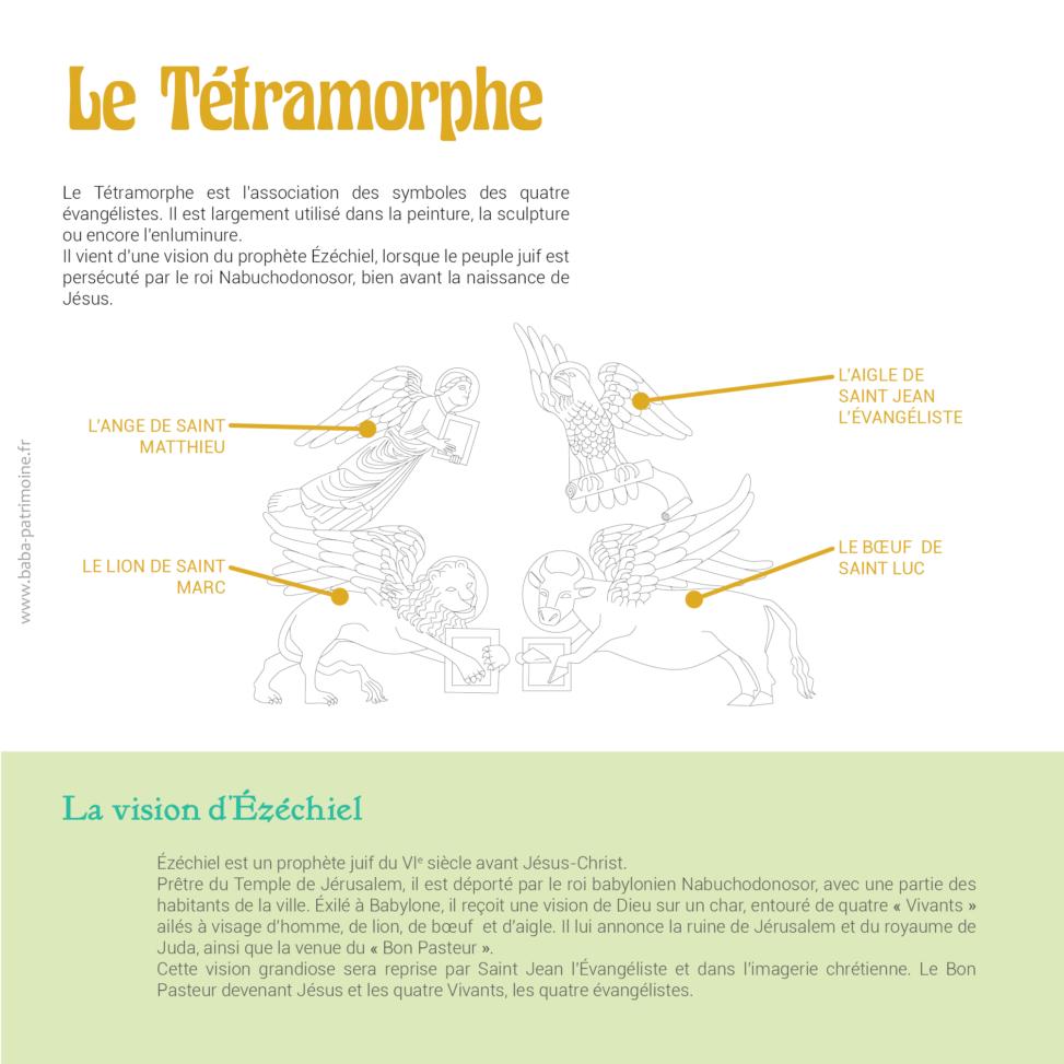 Le Tétramorphe, symbole des quatre évangélistes, remonte au VIe siècle avant Jésus-Christ. Il est composé d'un ange, d'un aigle, d'un lion ailé et d'un boeuf ailé. Il est largement utilisé dans la peinture, la sculpture ou encore l'enluminure. Il vient d'une vision du prophète ézéchiel, lorsque le peuple juif est persécuté par le roi Nabuchodonosor, bien avant la naissance de Jésus. ézéchiel est un prophète juif du VIe siècle avant Jésus-Christ. Prêtre du Temple de Jérusalem, il est déporté par le roi babylonien Nabuchodonosor, avec une partie des habitants de la ville. éxilé à Babylone, il reçoit une vision de Dieu sur un char, entouré de quatre «Vivants» ailés à visage d'homme, de lion, de bœuf et d'aigle. Il lui annonce la ruine de Jérusalem et du royaume de Juda, ainsi que la venue du «Bon Pasteur». Cette vision grandiose sera reprise par saint Jean l'évangéliste et dans l'imagerie chrétienne. Le Bon Pasteur devenant Jésus et les quatre Vivants, les quatre évangélistes.