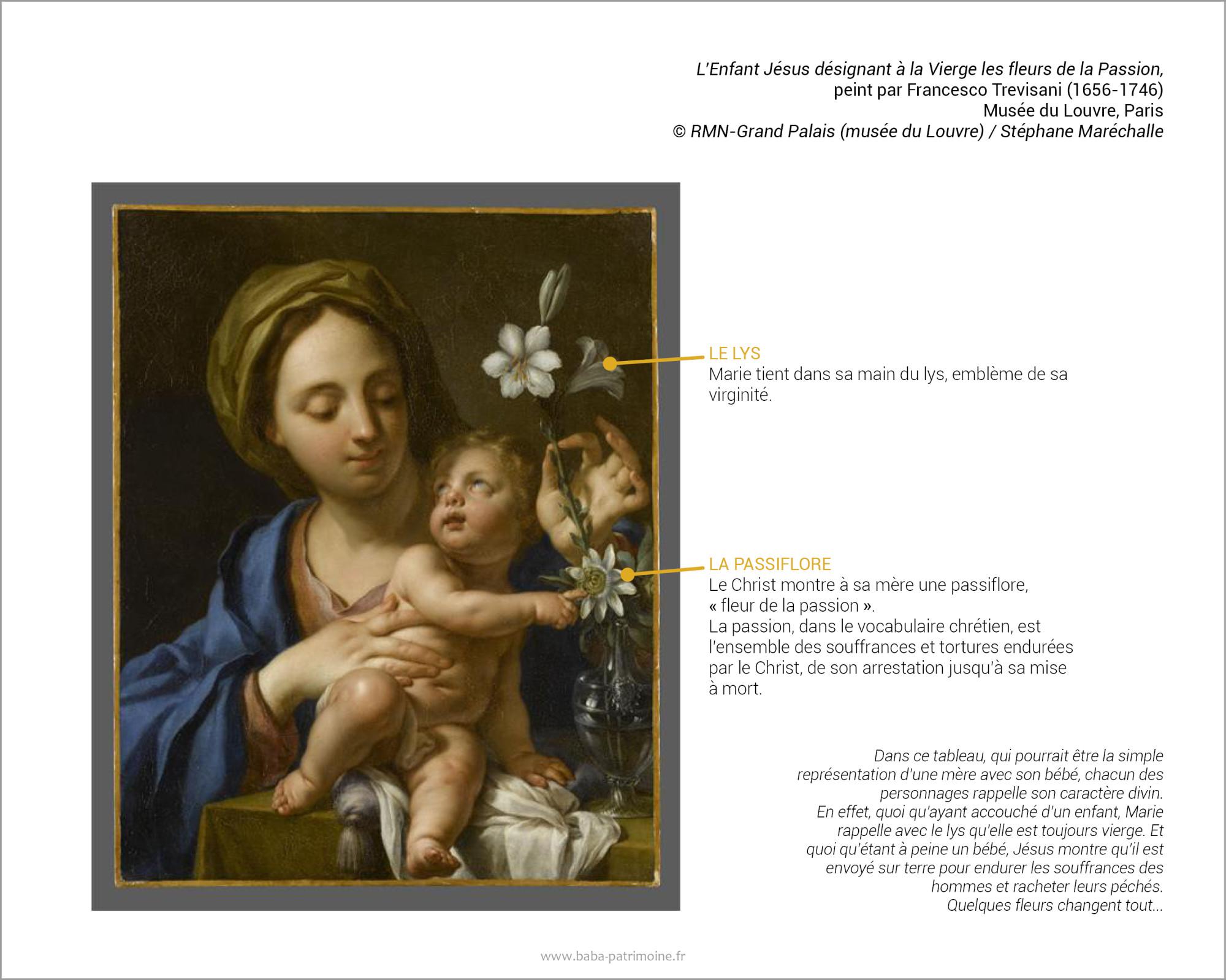 L'Enfant Jésus désignant à la Vierge les fleurs de la Passion, peint par Trevisani Francesco (1656-1746) Musée du Louvre, Paris. (C) RMN-Grand Palais (musée du Louvre) / Stéphane Maréchalle. Dans ce tableau, qui pourrait être la simple représentation d'une mère avec son bébé, chacun des personnages rappelle son caractère divin.  En effet, quoi qu'ayant accouché d'un enfant, Marie rappelle avec le lys qu'elle est toujours vierge. Et quoi qu'étant à peine un bébé, Jésus montre, avec la passiflore, qu'il est envoyé sur terre pour endurer les souffrances des hommes et racheter leurs péchés. Quelques fleurs changent tout...