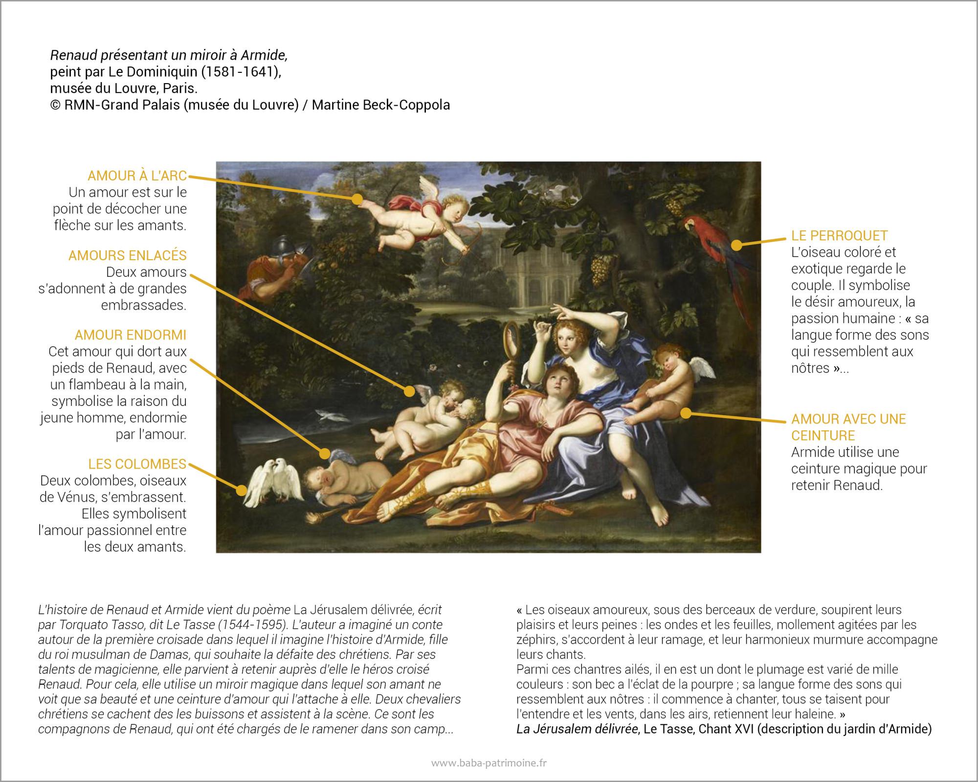 Renaud présentant un miroir à Armide, peint par Le Dominiquin (1581-1641), musée du Louvre, Paris. (C) RMN-Grand Palais (musée du Louvre) / Martine Beck-Coppola