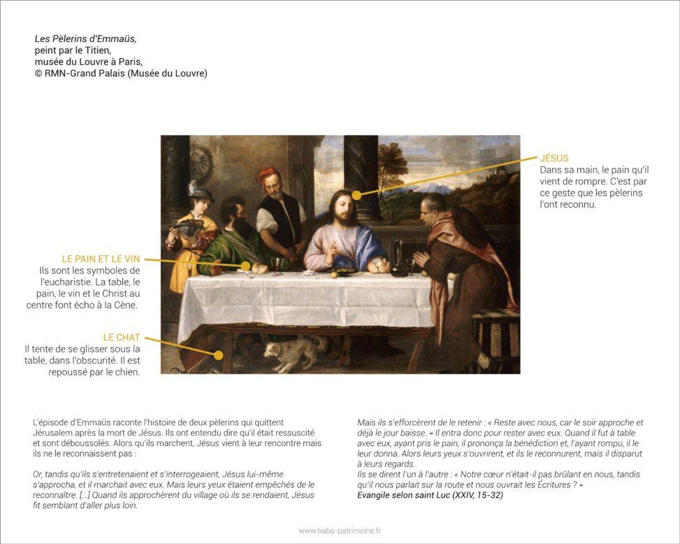 Analyse de tableau : Les Pèlerins d'Emmaüs, peint par le Titien. Musée du Louvre à Paris.
