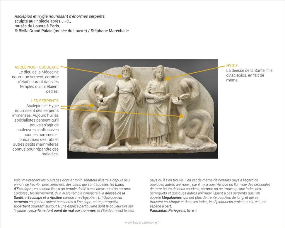 Analyse de tableau : Asclépios et Hygie nourissant d'énormes serpents, sculpté au IIe siècle ap. J.-C. Musée du Louvre, Paris.